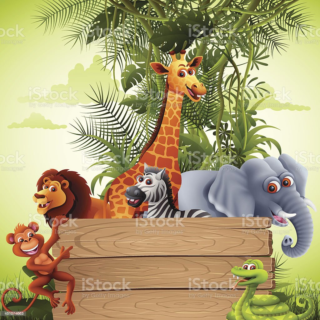 Jungle Animals with Banner vector art illustration
