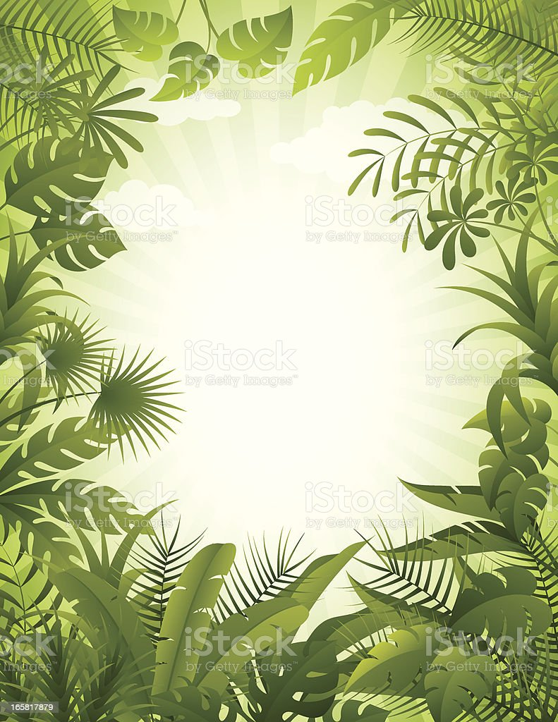 Jungle background vector art illustration