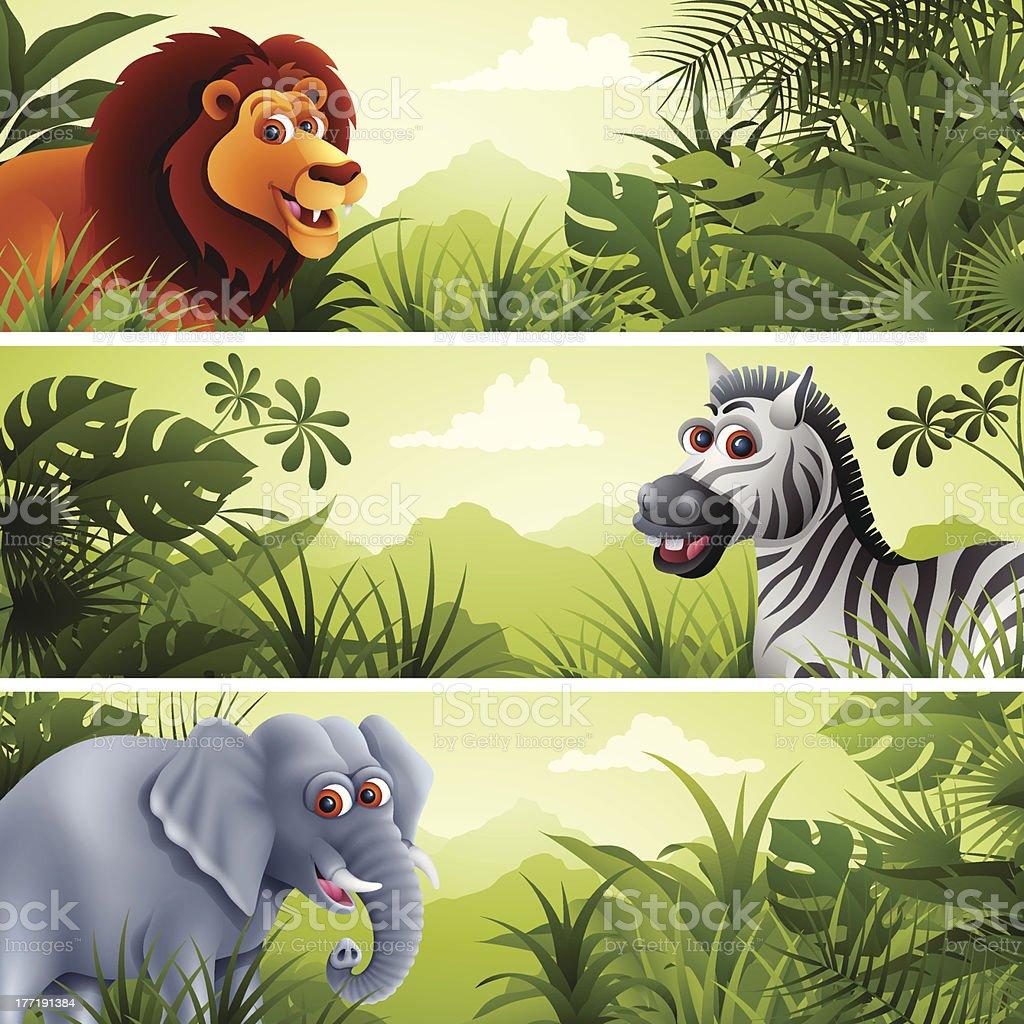 Jungle Banner with Wild Animals vector art illustration