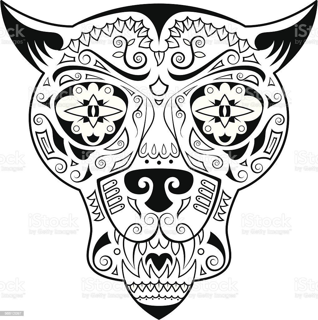 Jungle Cat skull royalty-free stock vector art