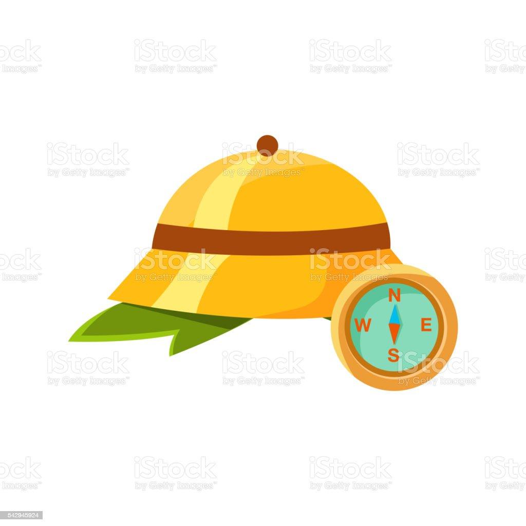 Jungle Cork Helmet Ans Compass vector art illustration