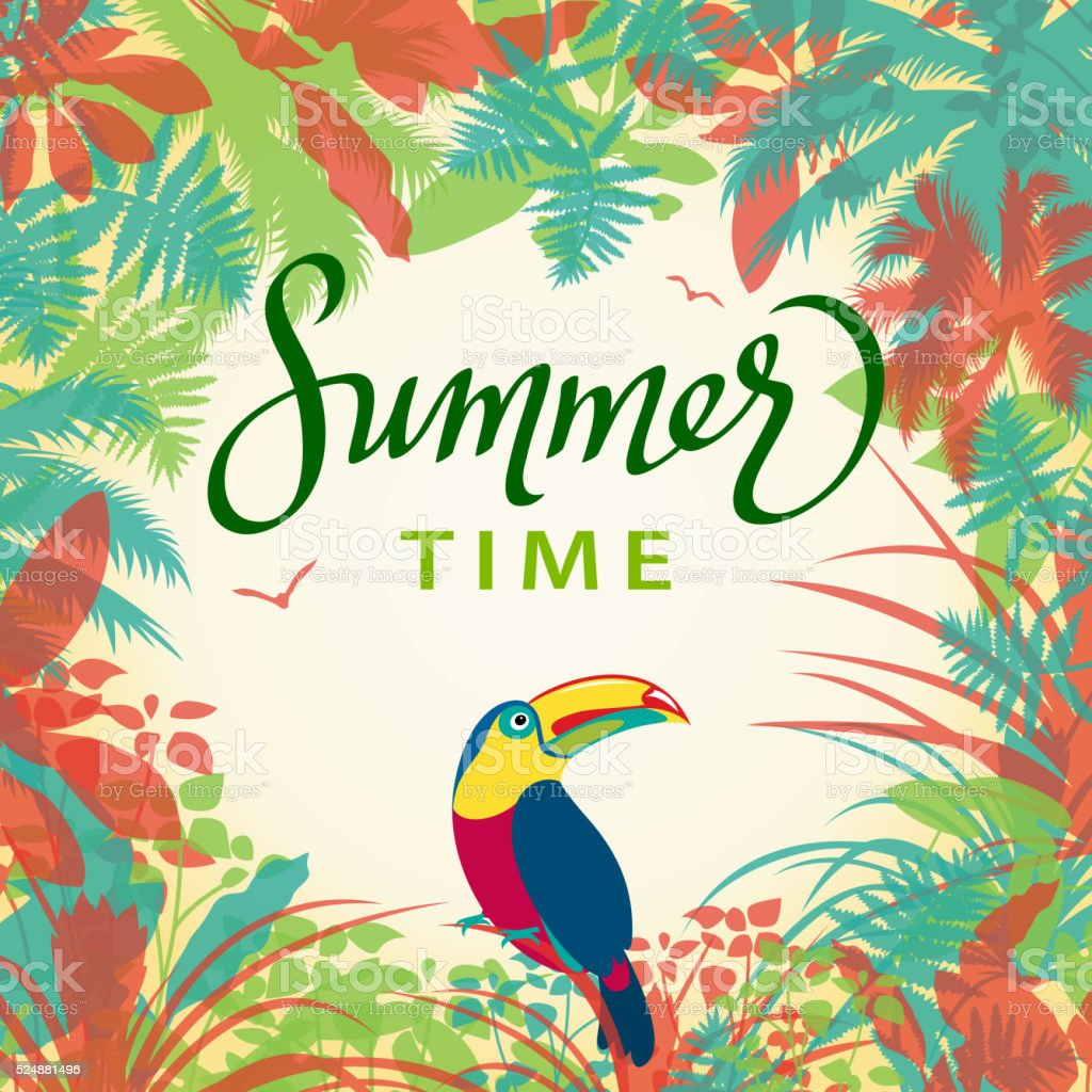 Jungle in Summer vector art illustration