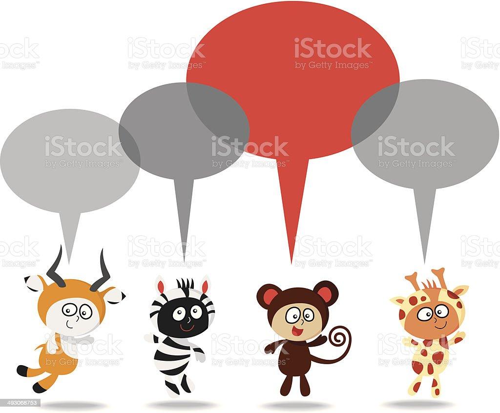 jungle kids talk vector art illustration