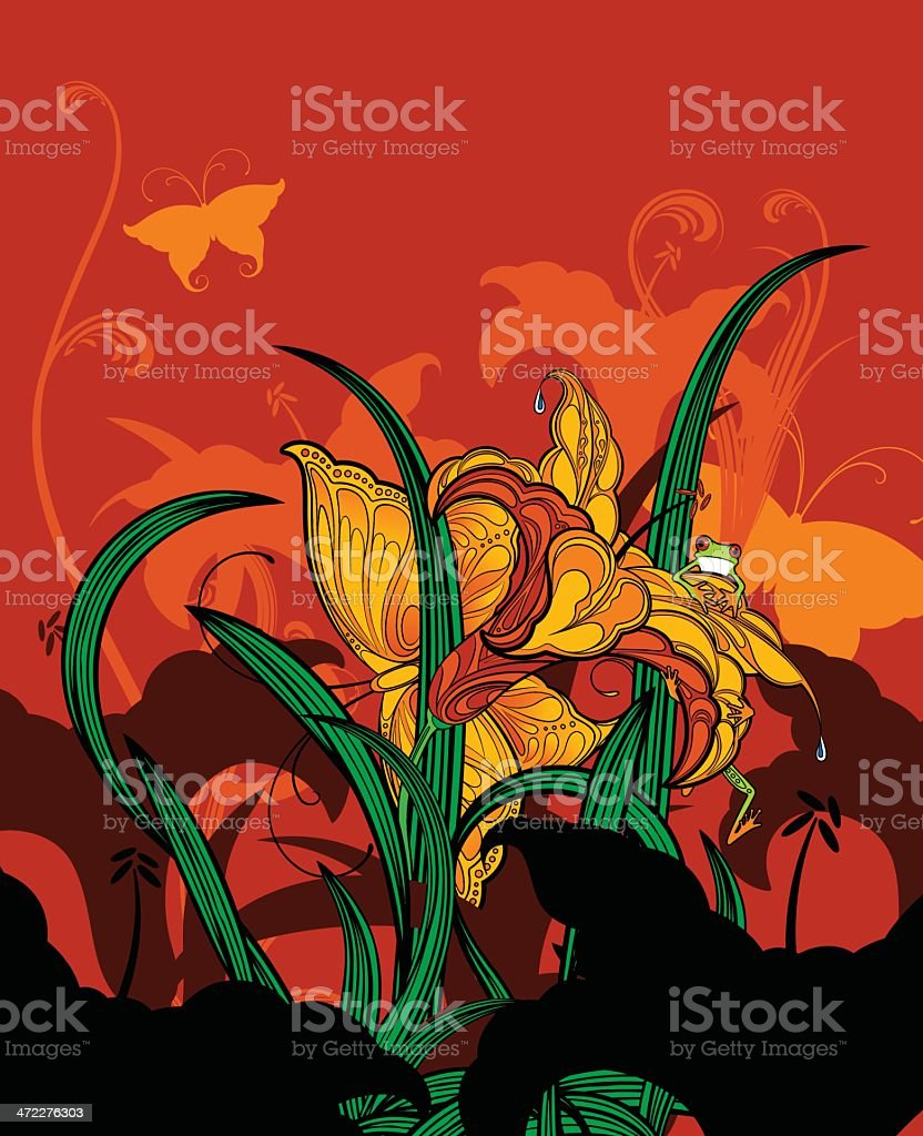 Jungle Lilies vector art illustration