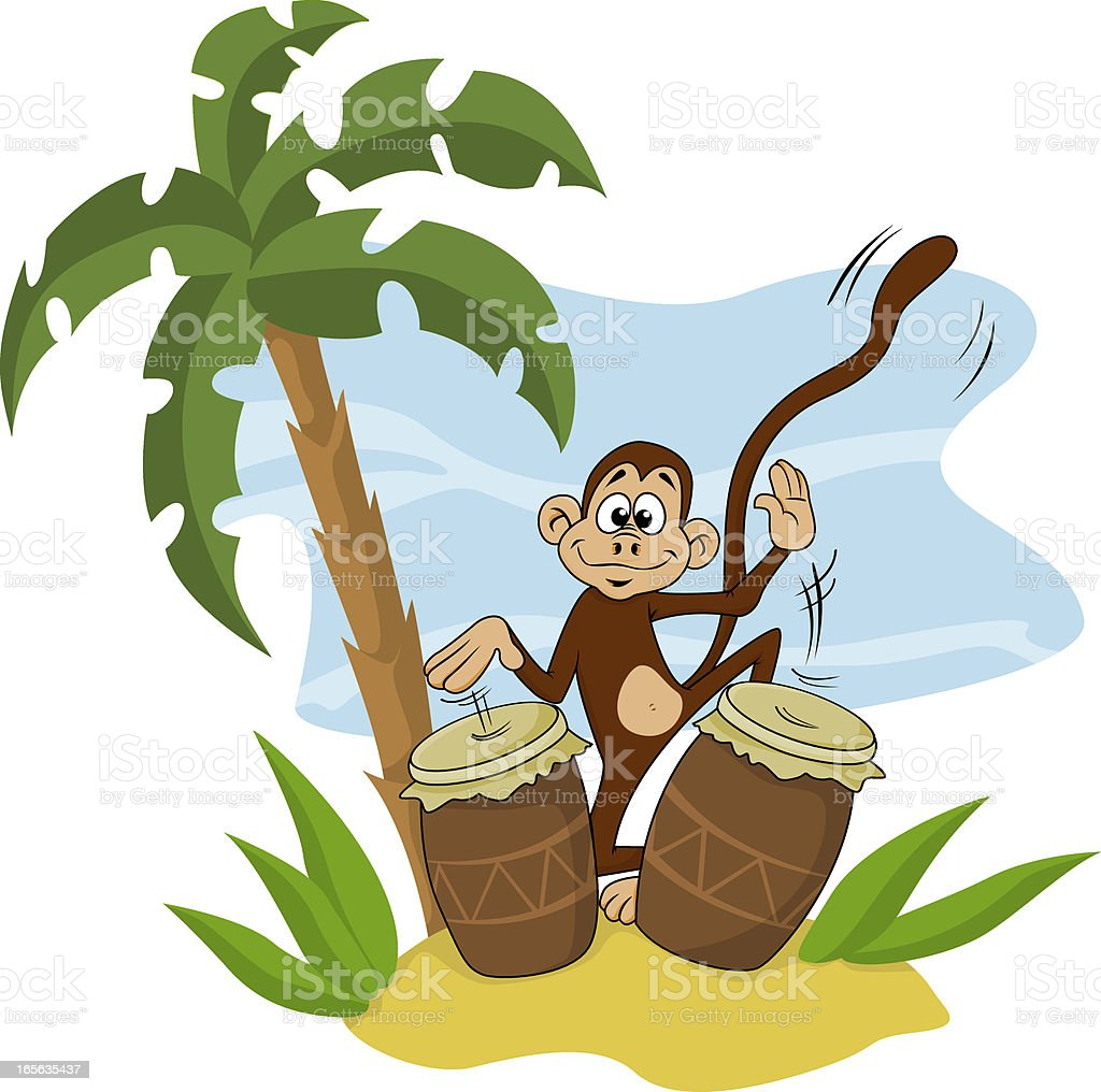 Jungle monkey vector art illustration