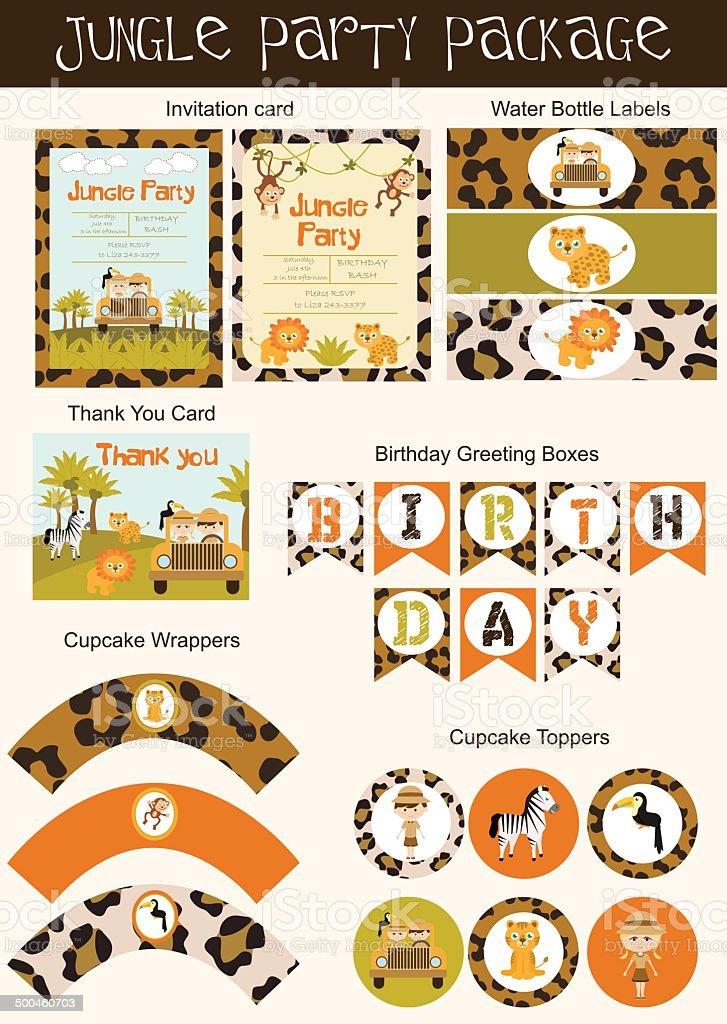 Jungle party set vector art illustration