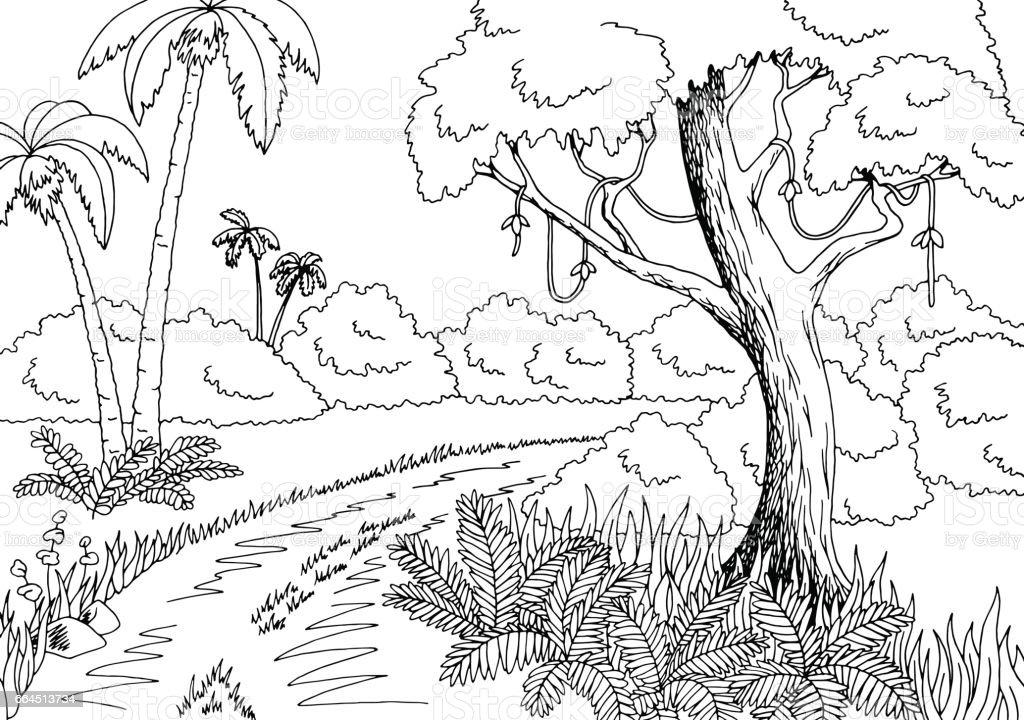 Jungle road graphic black white landscape sketch illustration vector vector art illustration