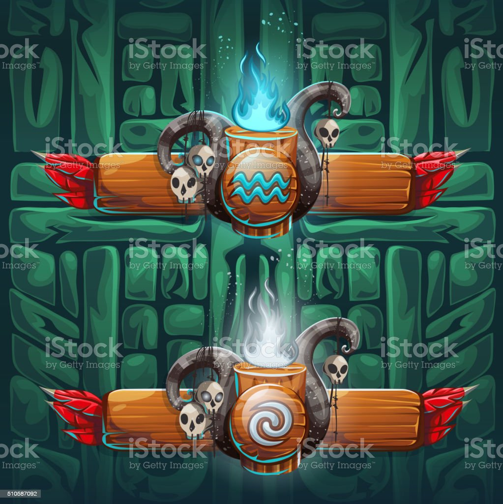 Jungle shamans GUI  boosters air and water vector art illustration