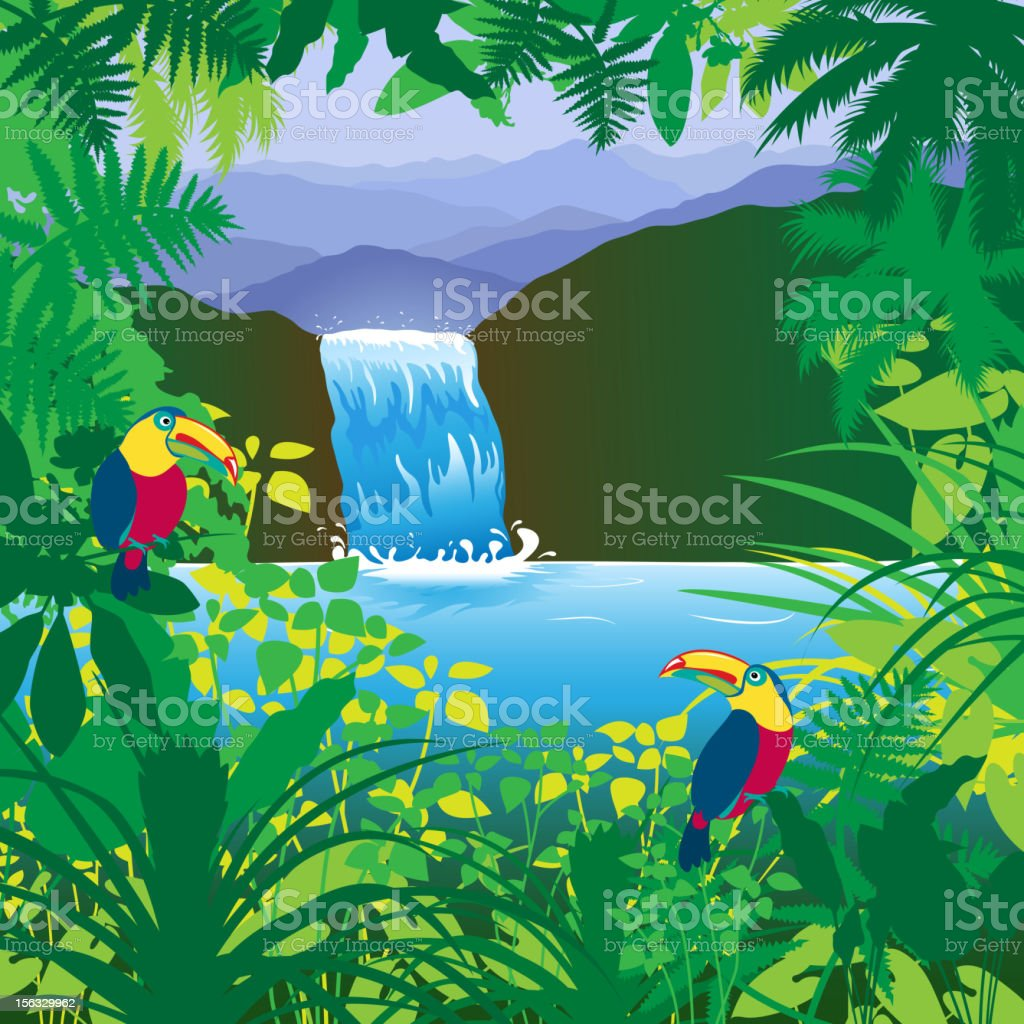 Jungle Waterfall vector art illustration