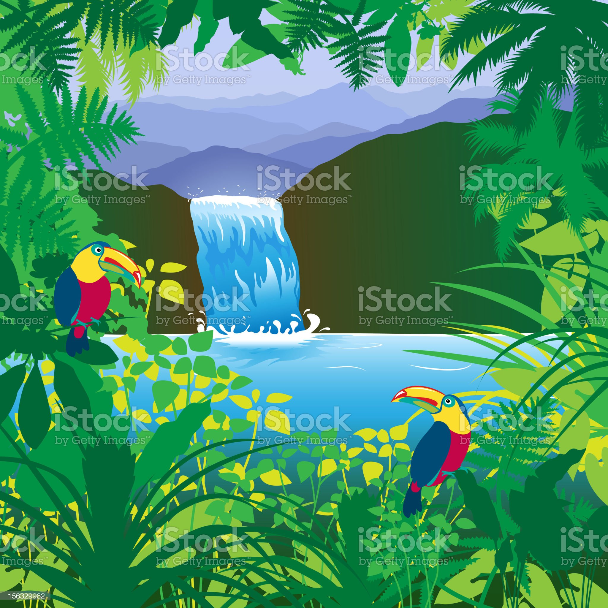 Jungle Waterfall royalty-free stock vector art
