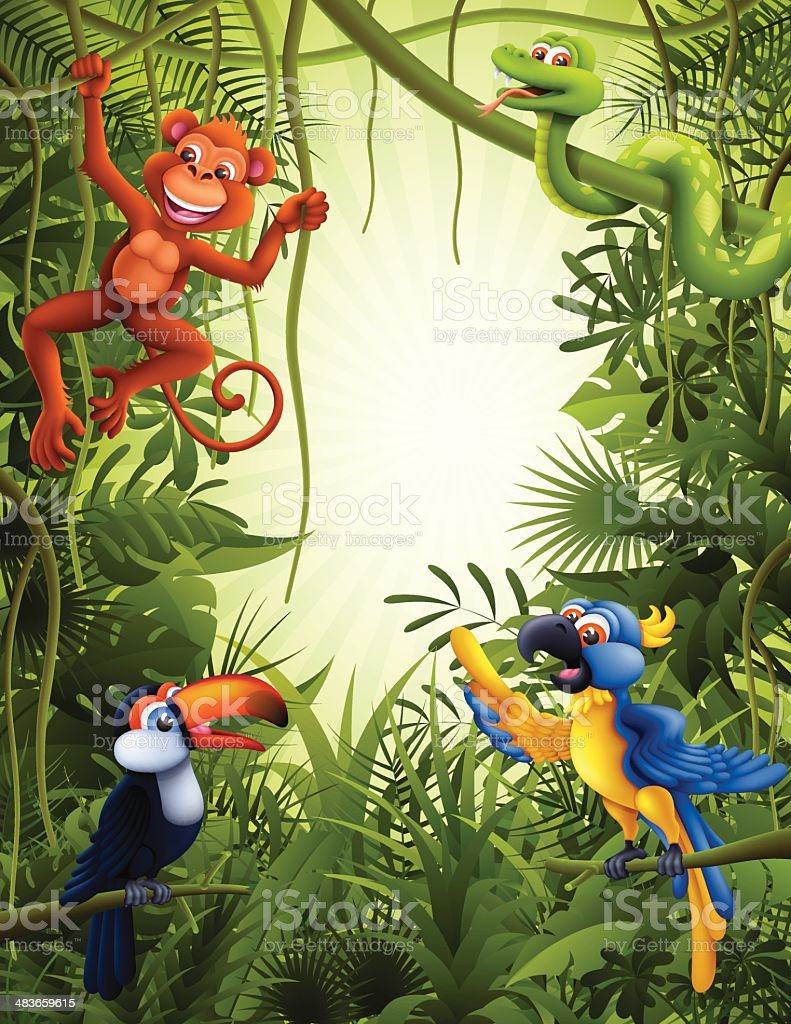 Jungle with wild animals vector art illustration