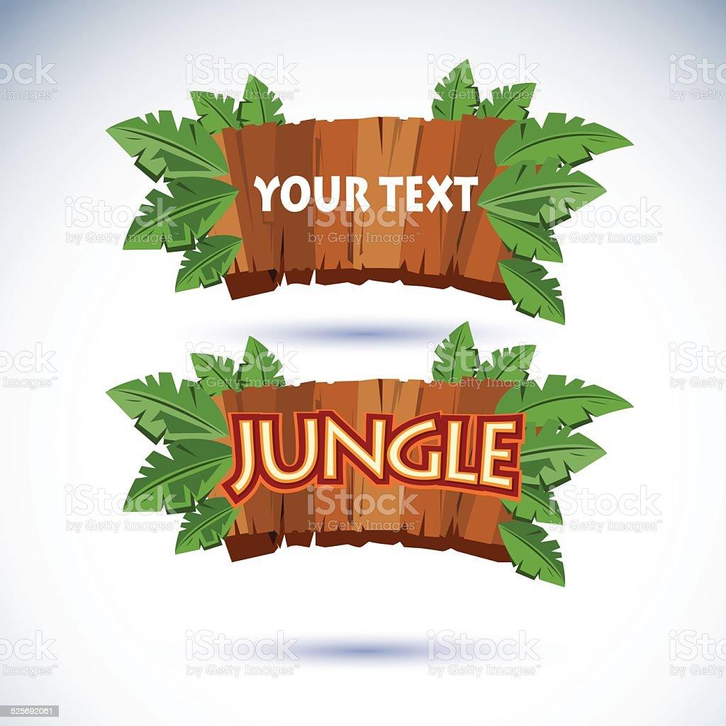 jungle wood sign vector vector art illustration
