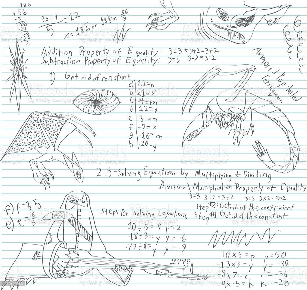 Junior High Math Class Doodle royalty-free stock vector art