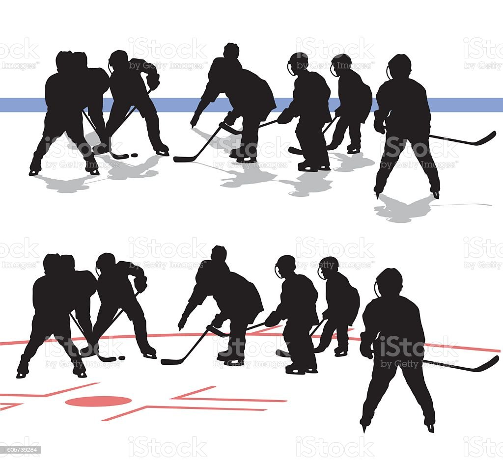 Junior Hockey Game Silhouette Vector vector art illustration