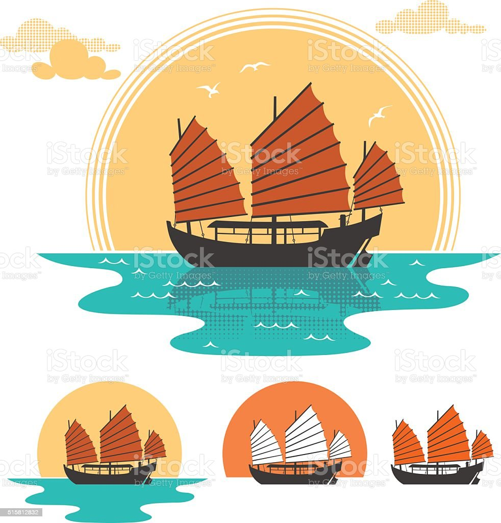 Junk Boat vector art illustration