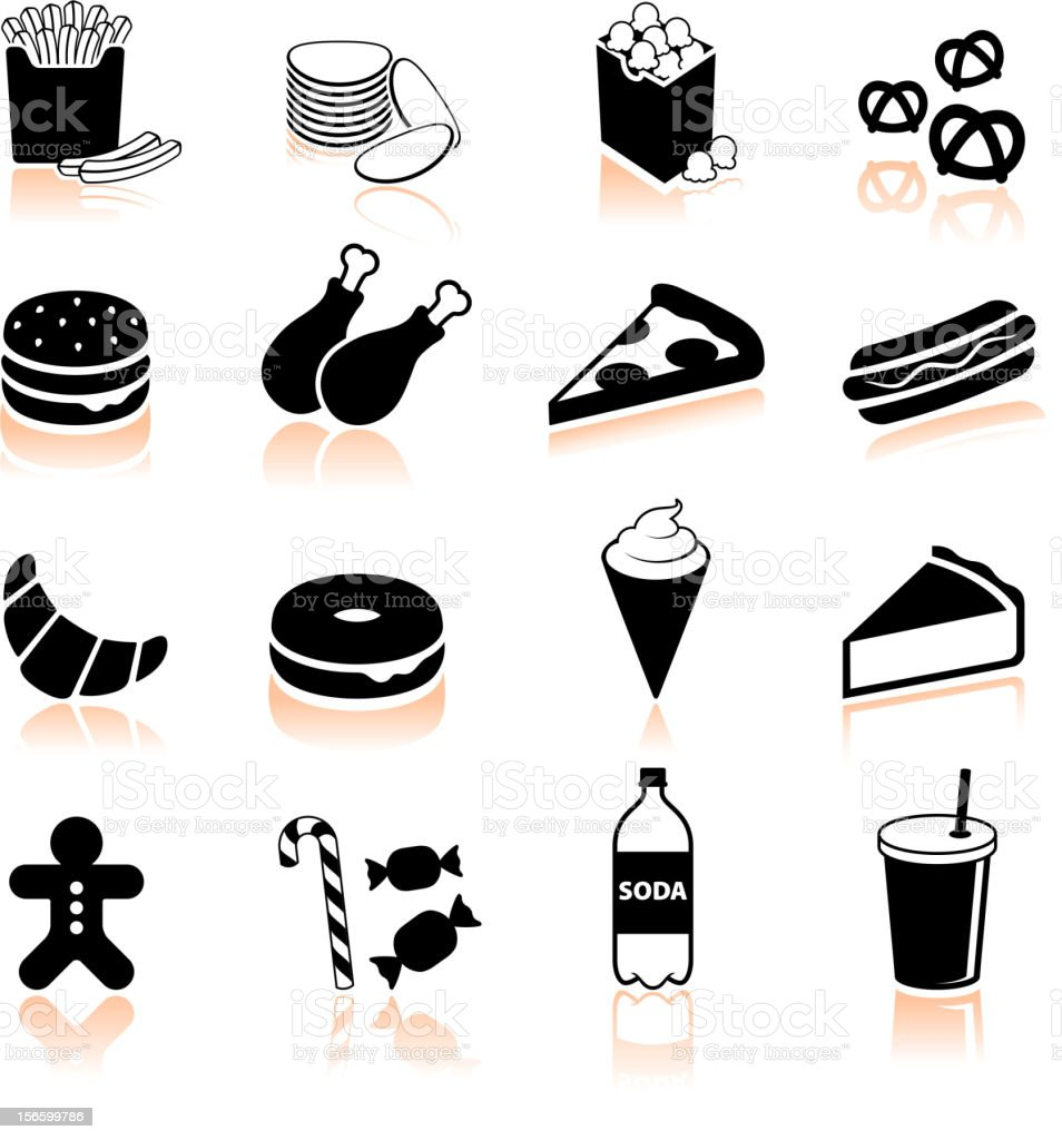 Junk food black and white royalty free vector icon set vector art illustration