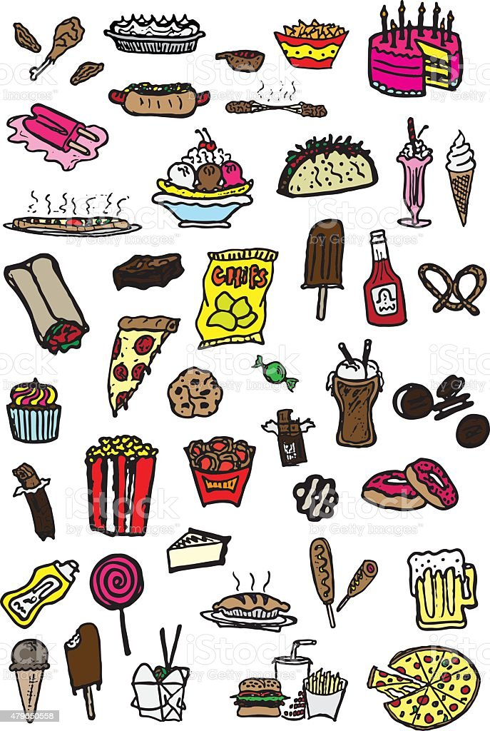 Junk Food Doodles vector art illustration