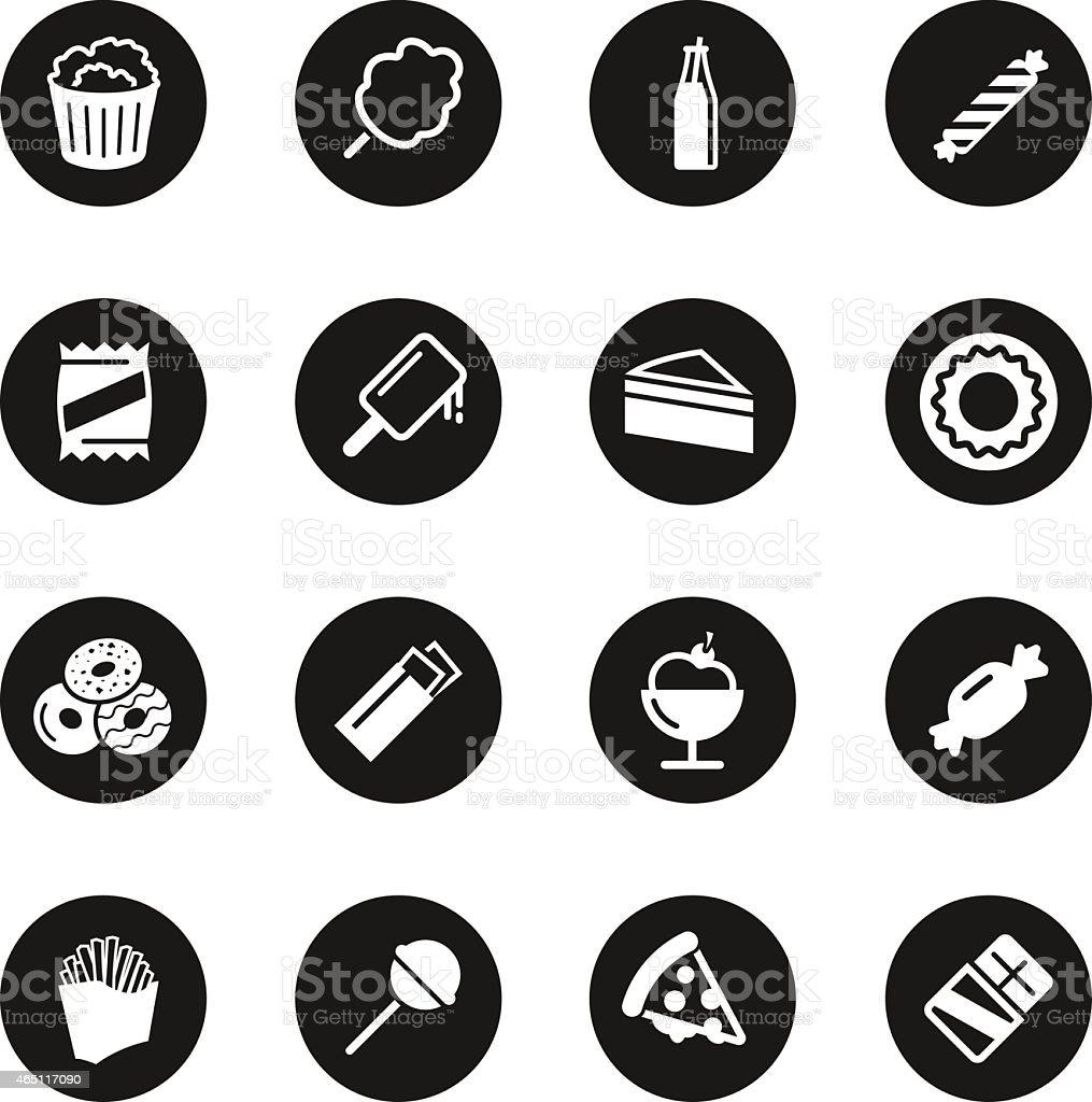 Junk Food Icons - Black Circle Series vector art illustration