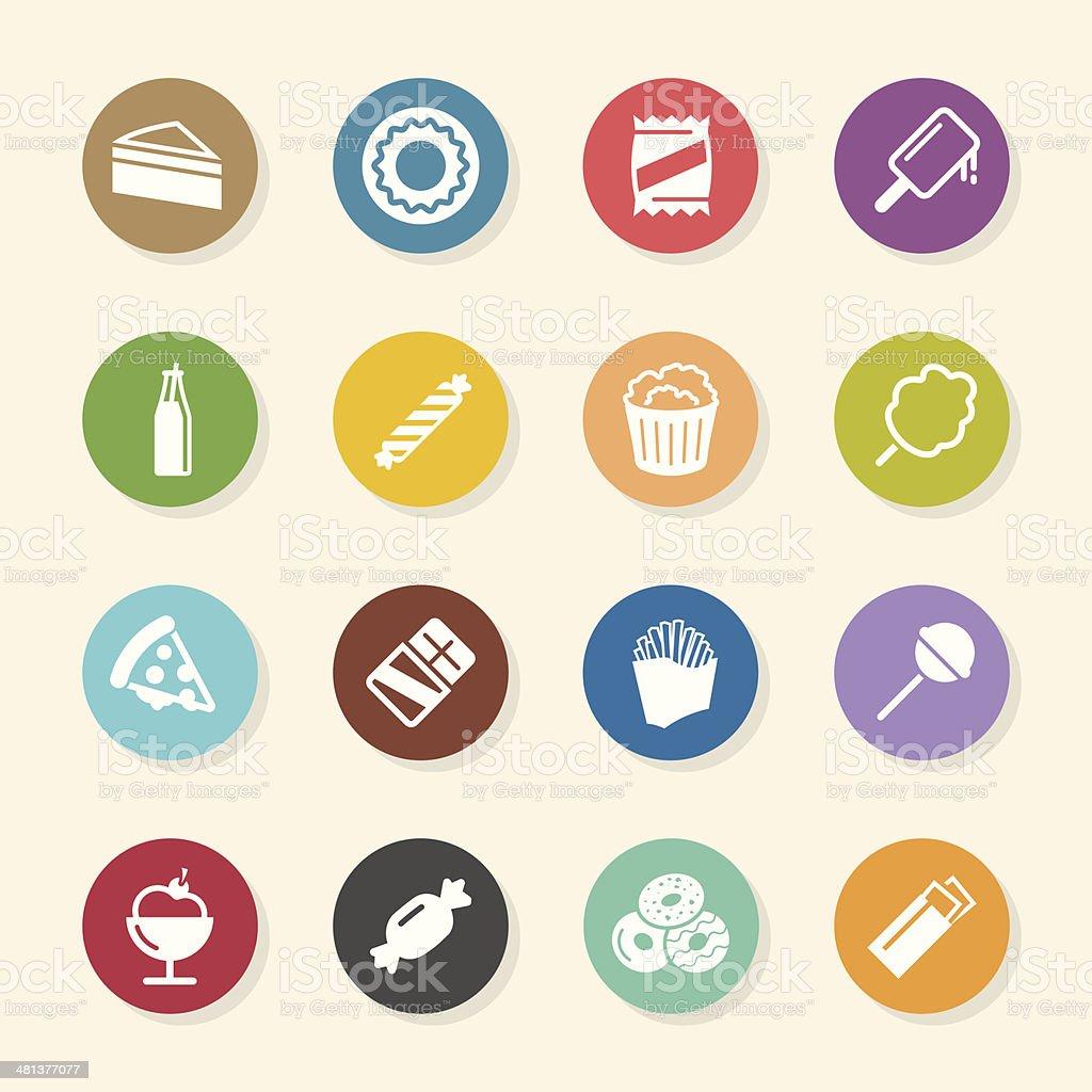 Junk Food Icons - Color Circle Series vector art illustration
