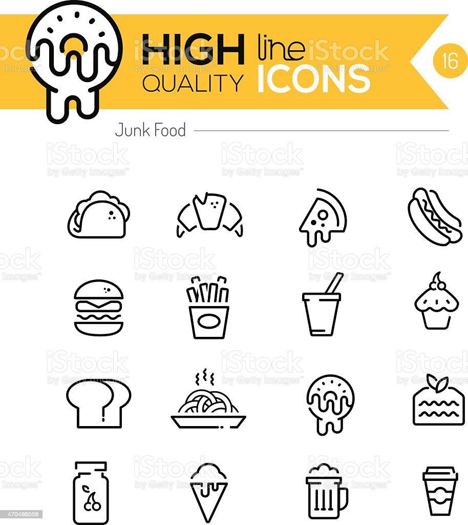Junk Food Line Icons vector art illustration