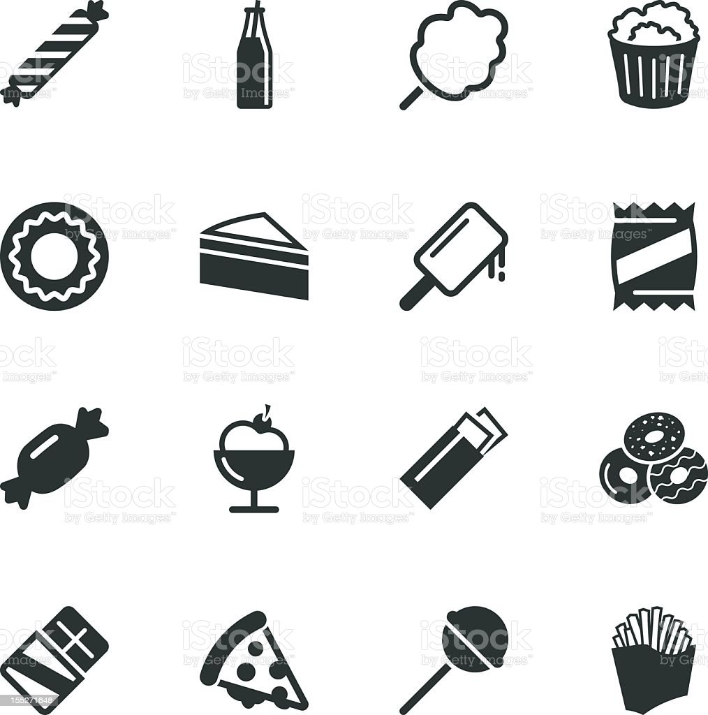 Junk Food Silhouette Icons royalty-free stock vector art