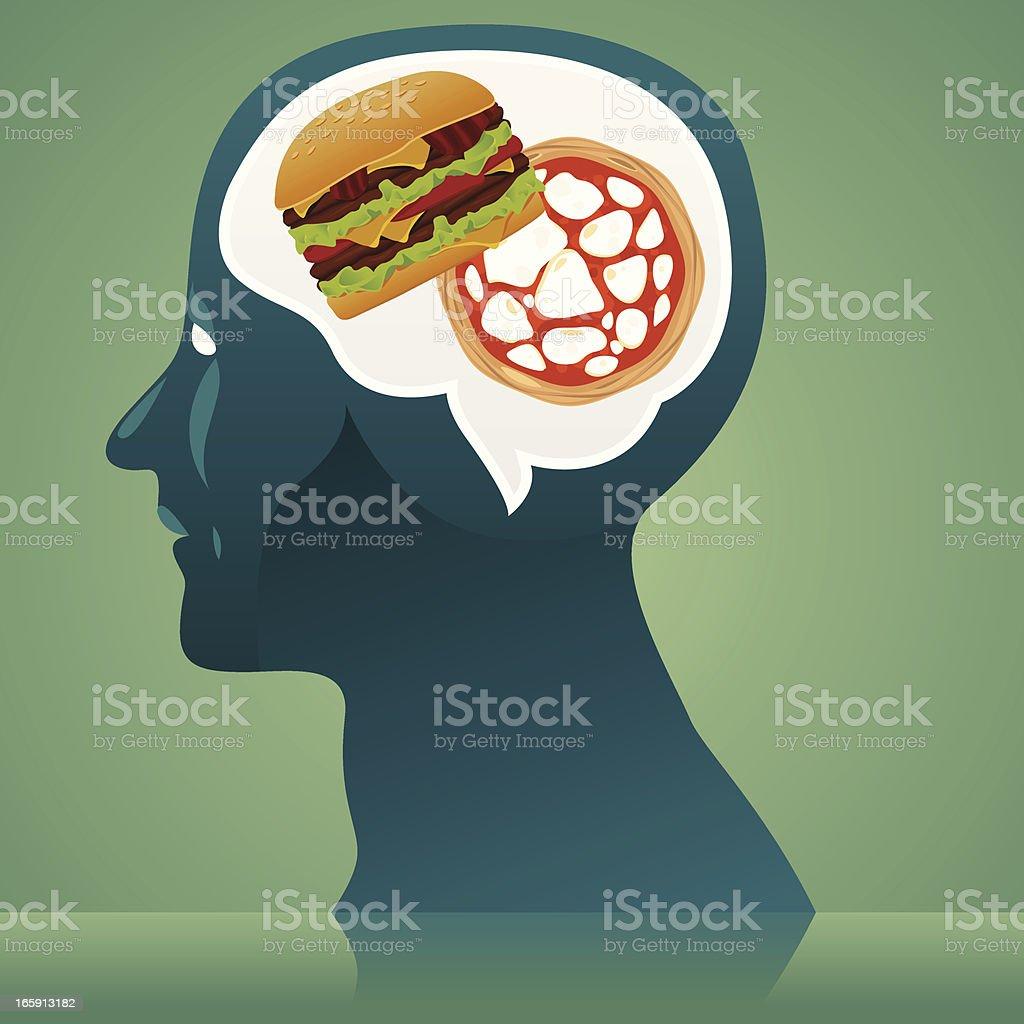 Junk food thinking vector art illustration
