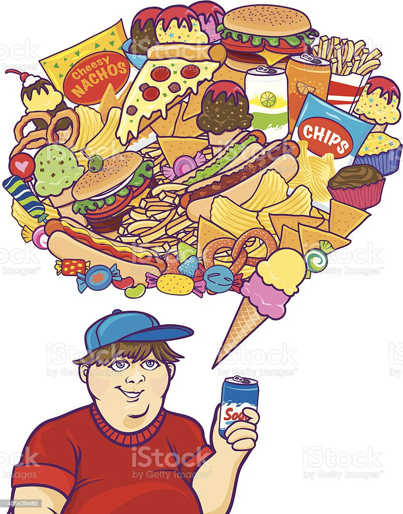 Junk Food Thoughts White Boy royalty-free stock vector art
