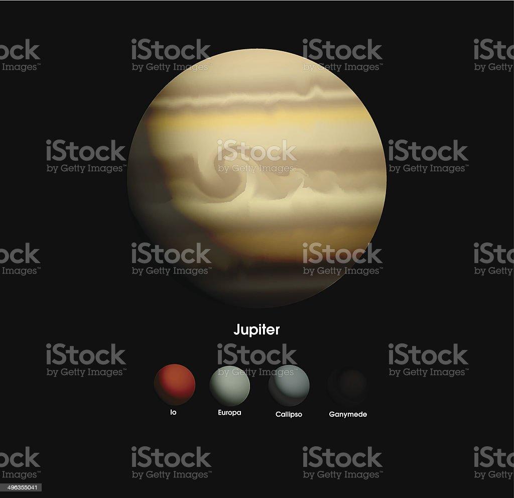 Jupiter et elle moons stock vecteur libres de droits libre de droits