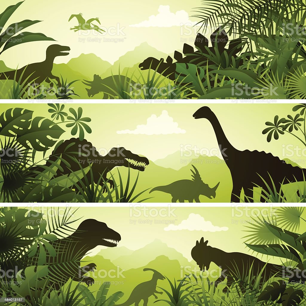 Jurassic Banners vector art illustration