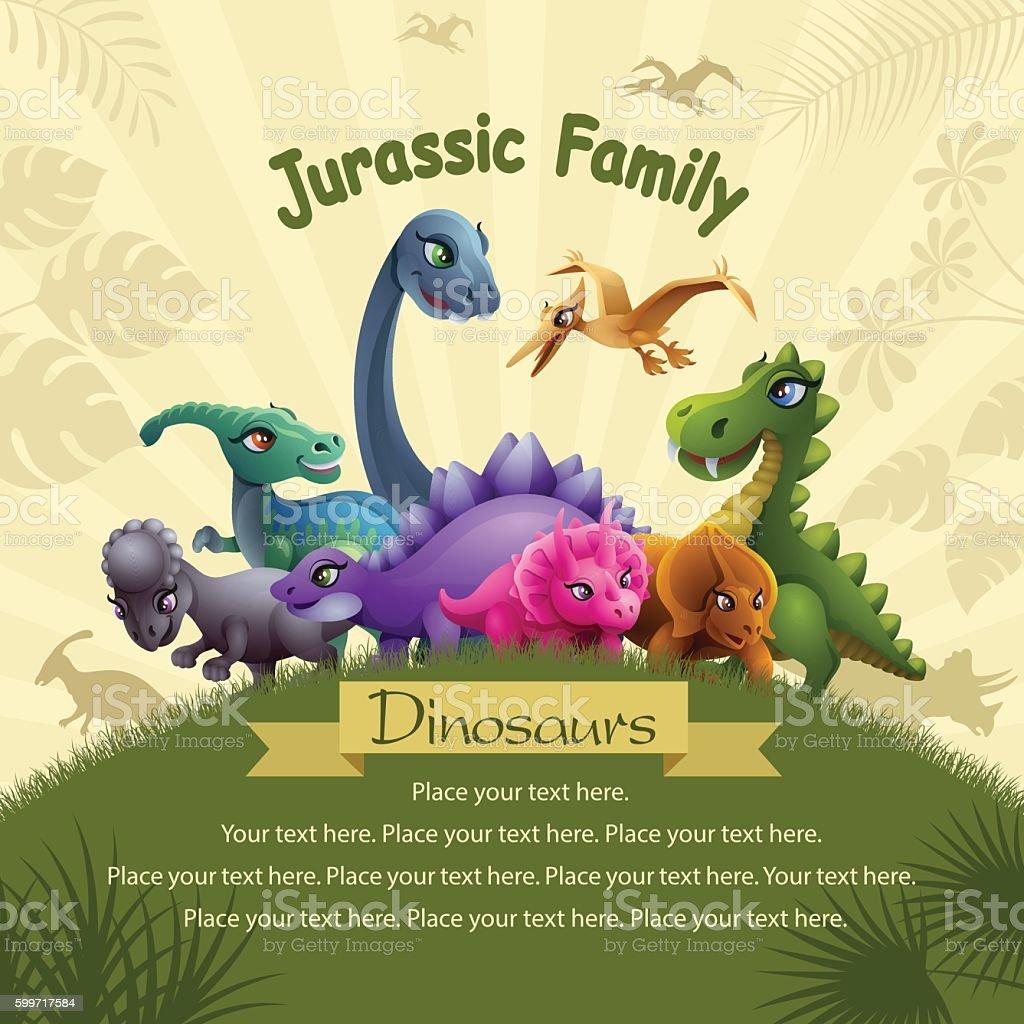 Jurassic Family vector art illustration