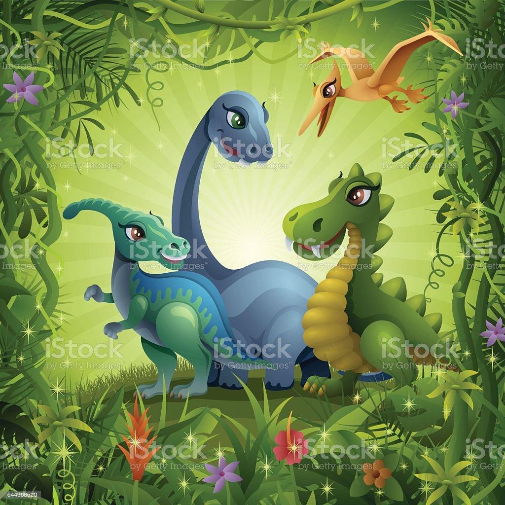 Jurassic Friends vector art illustration