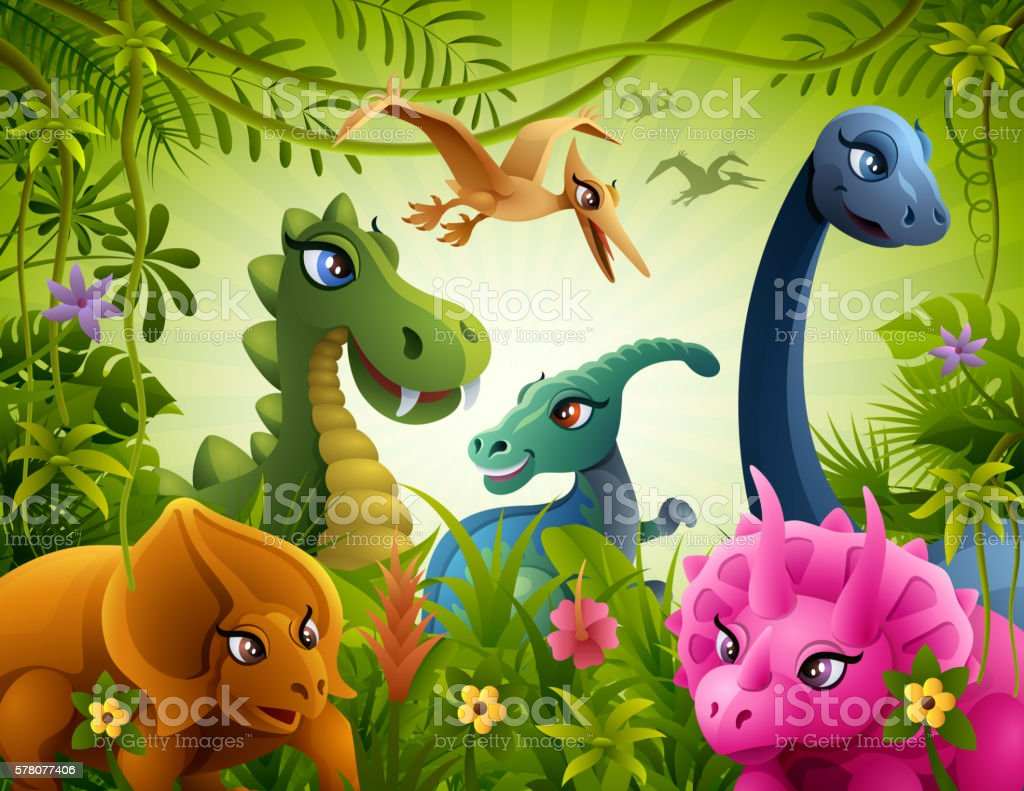Jurassic Friendship vector art illustration