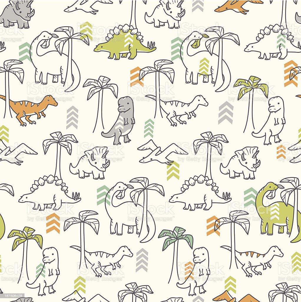 Jurassic Jungle Pattern royalty-free stock vector art