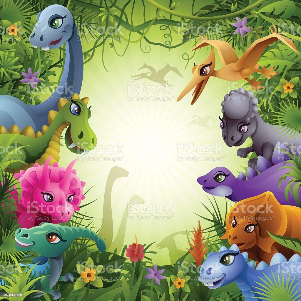 Jurassic Jungle with Dinosaurs vector art illustration