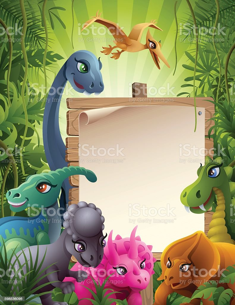 Jurassic Jungle with Sign vector art illustration