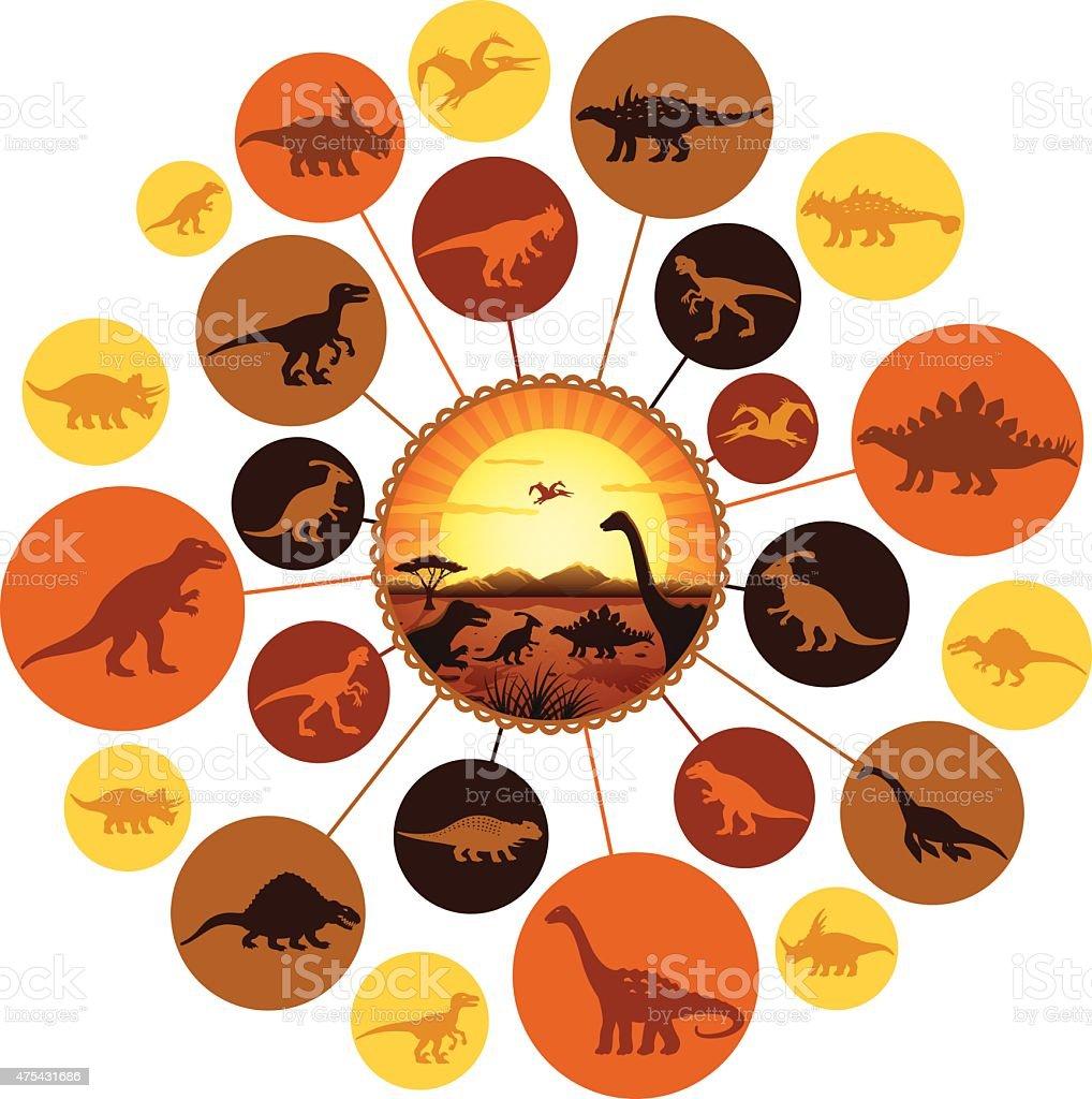 Jurassic Montage vector art illustration
