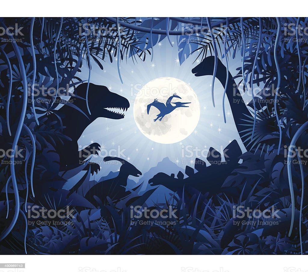Jurassic Night vector art illustration