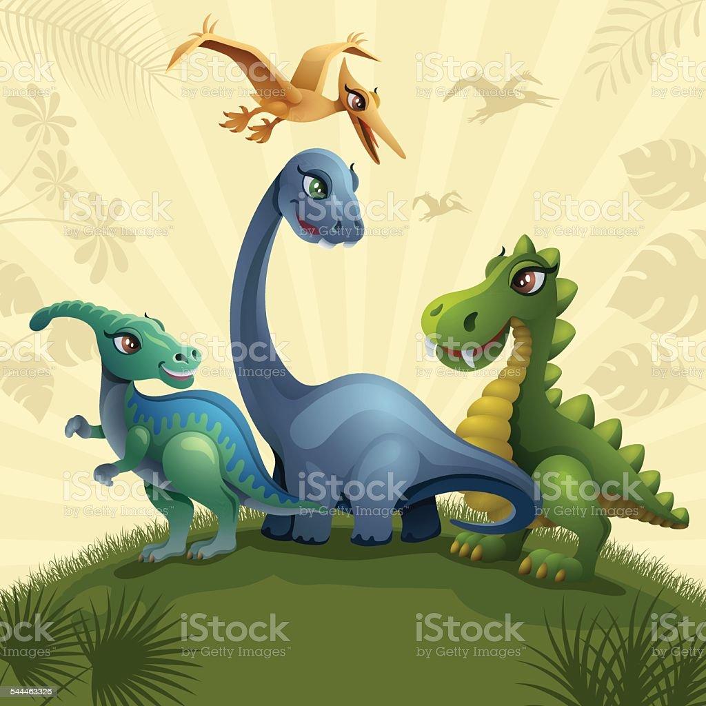 Jurassic Scene vector art illustration