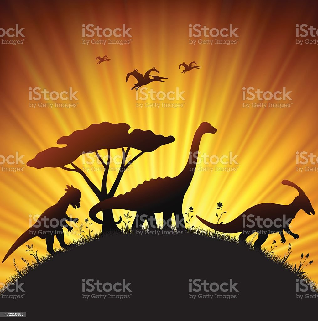 Jurassic Sunset vector art illustration