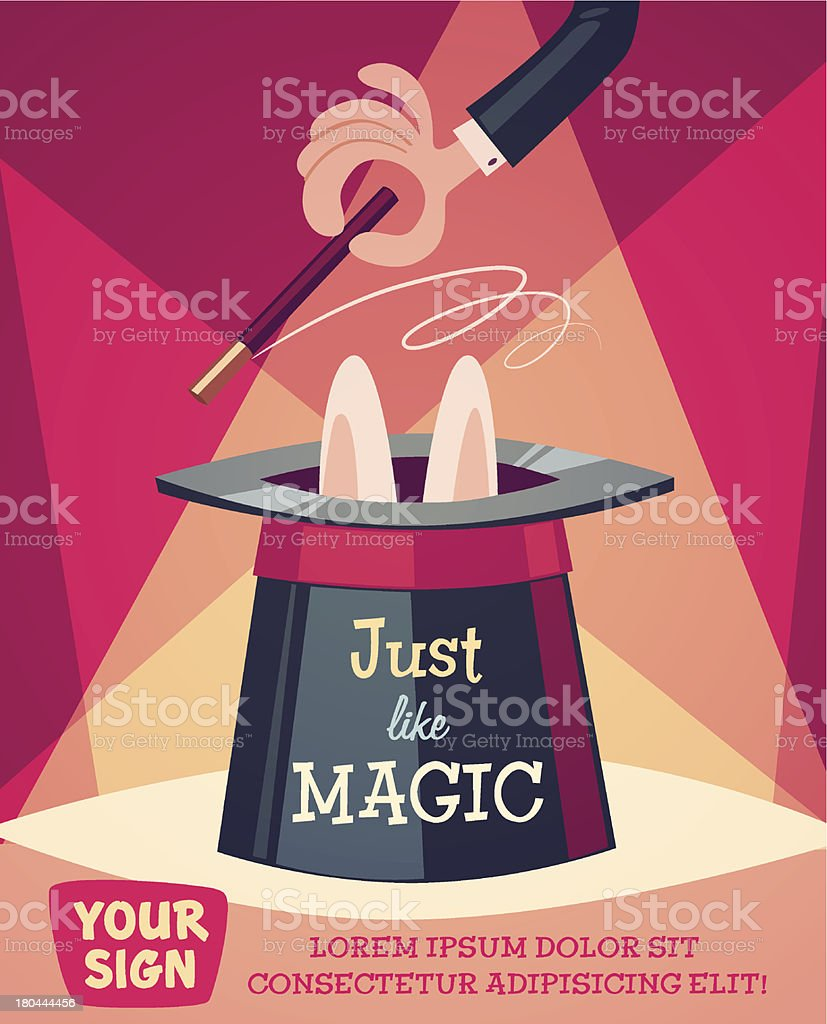 Just a magic trick. Retro styled vector poster. vector art illustration