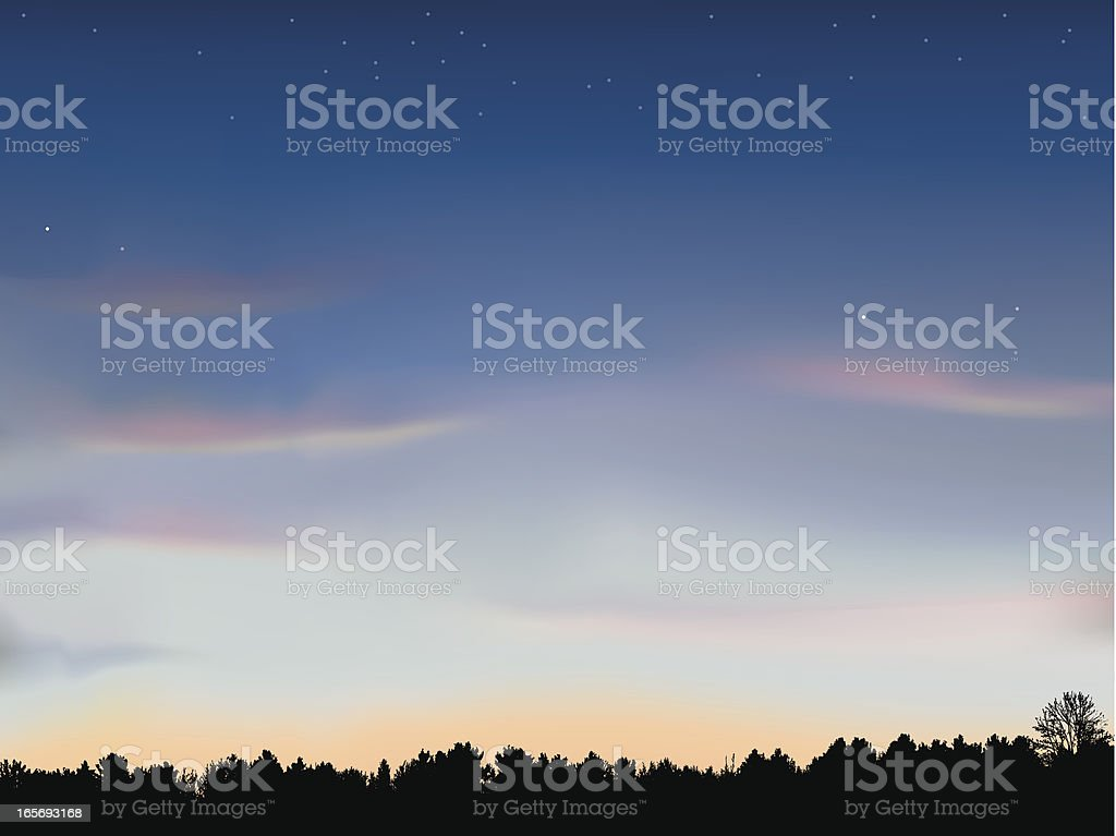 Just after Sunset with Tree Line Background vector art illustration