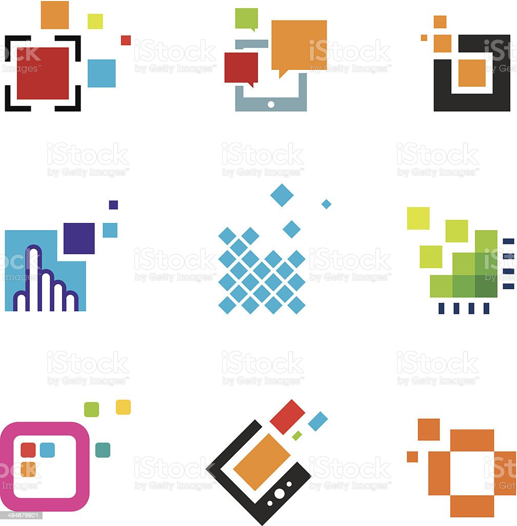 Just creative abstract colorful design geometric polygon cube icon vector art illustration