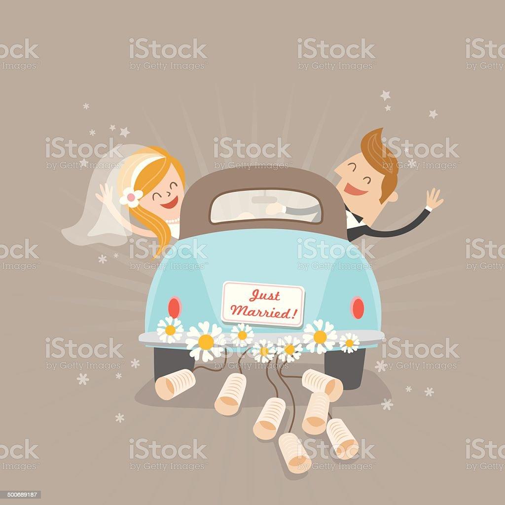 Just married car vector art illustration