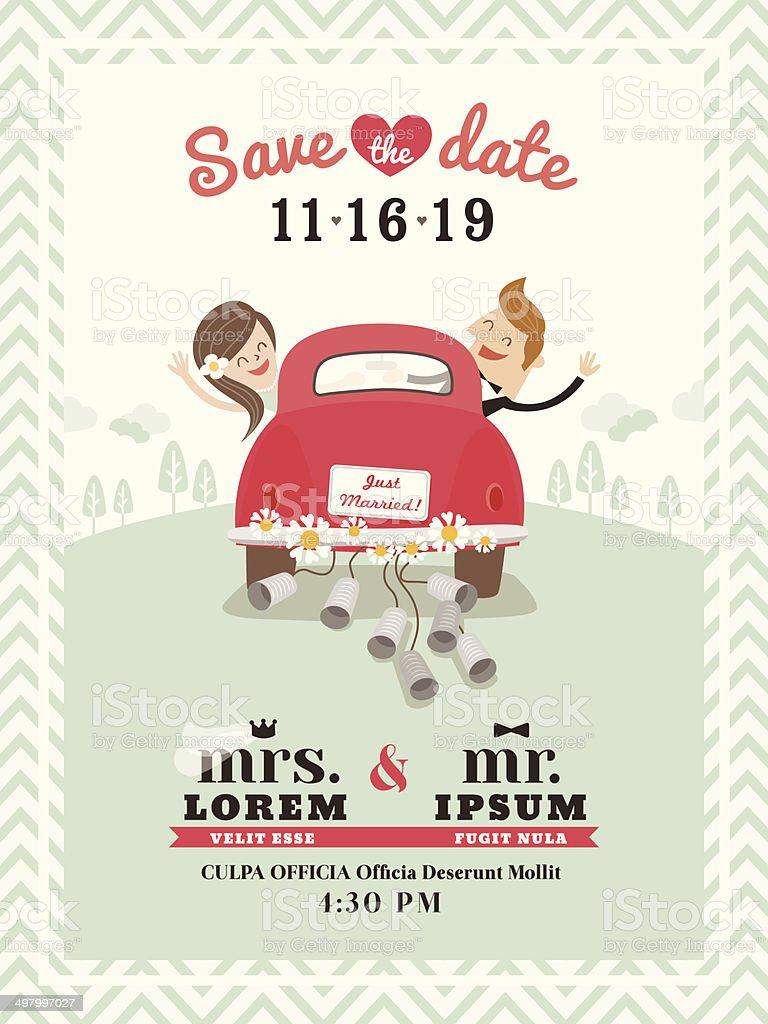 Just married car wedding invitation design vector art illustration