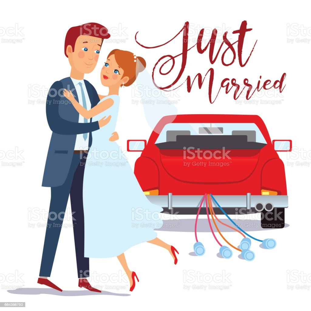 Just married happy couple bride and groom hugging each other, wedding card design, vector illustration. Just married car vector art illustration