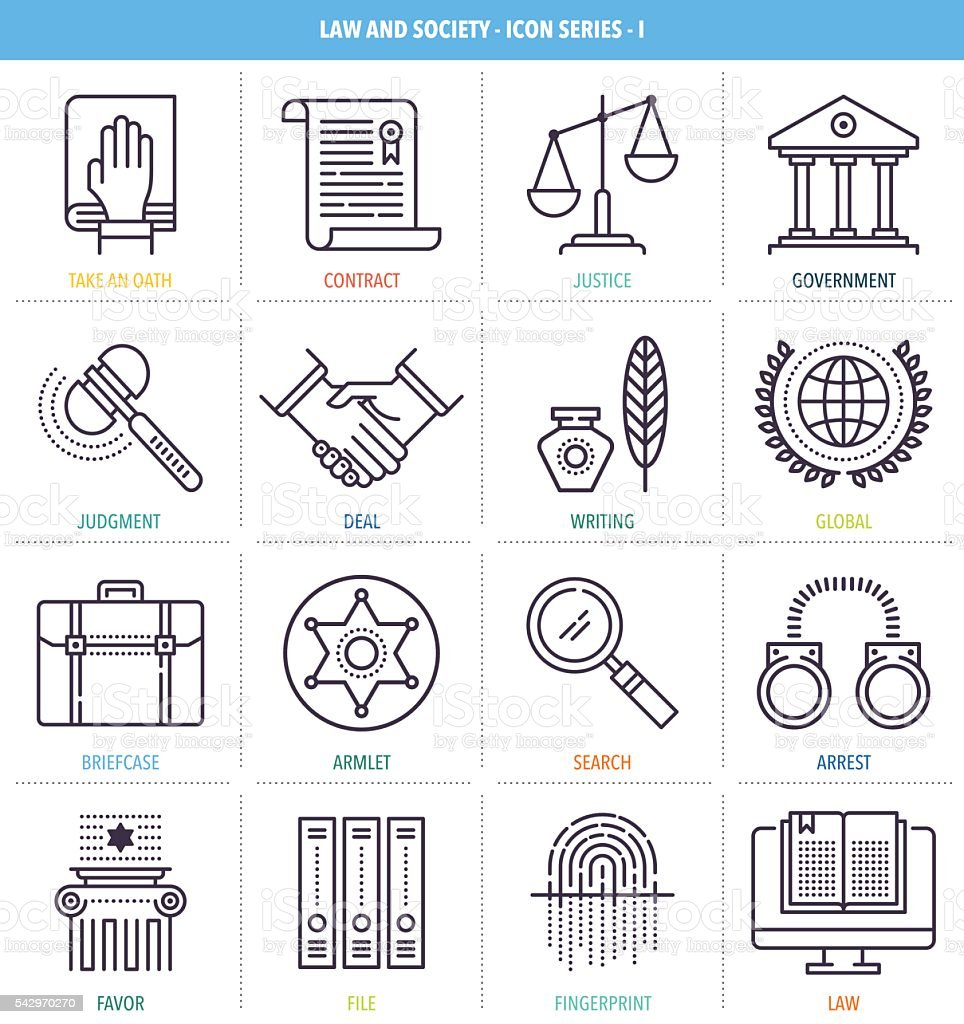 Justice and Equality Icon Set vector art illustration
