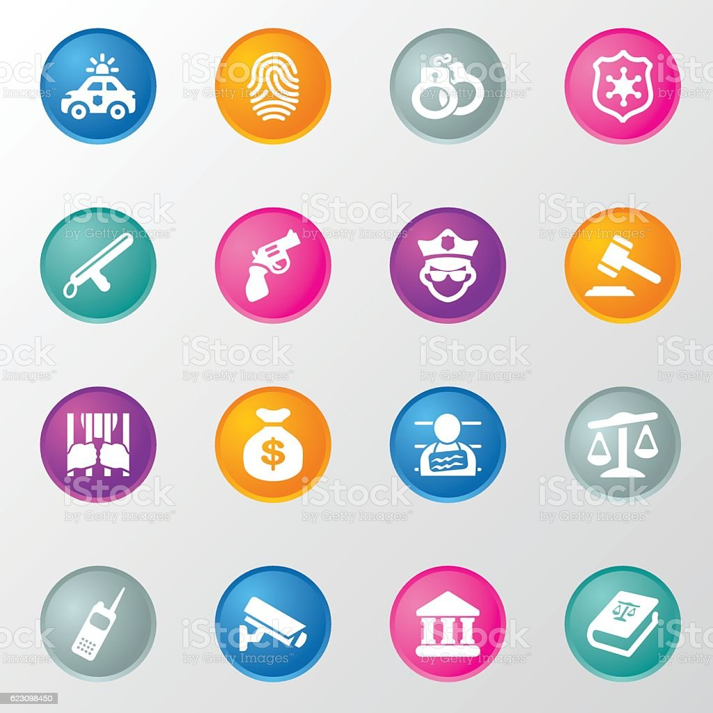 Justice and Law Circle Color Icons vector art illustration