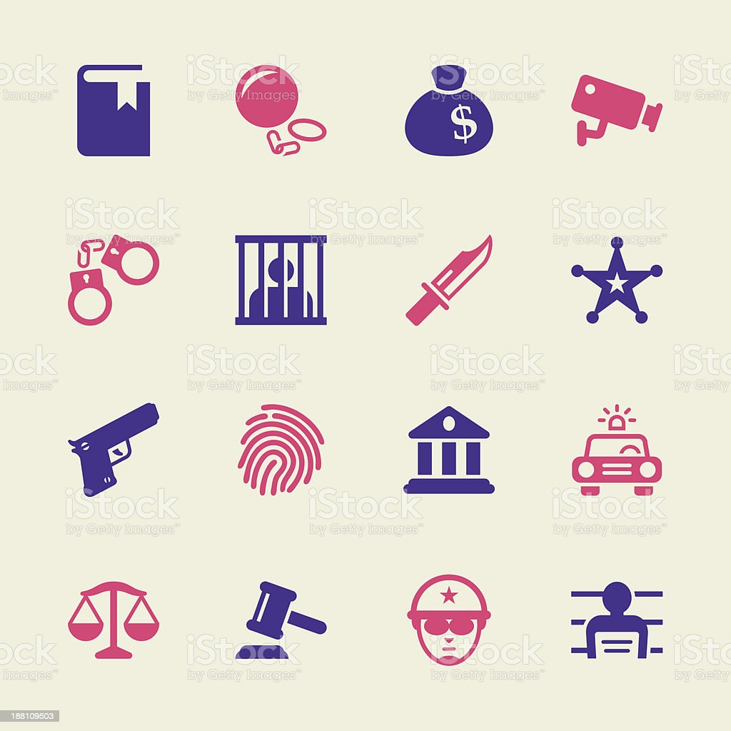 Justice and Law Icons - Color Series vector art illustration
