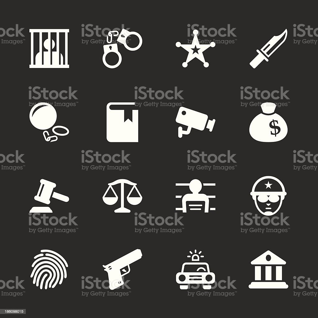 Justice and Law Icons - White Series vector art illustration