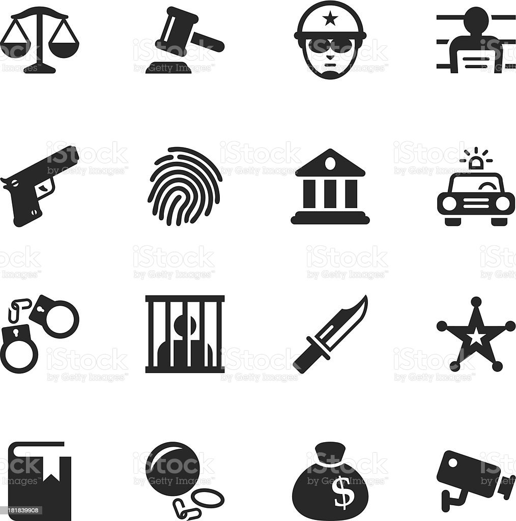 Justice and Law Silhouette Icons vector art illustration